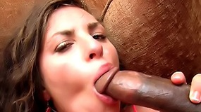 Brunette cute girl sucks and rides big black cock