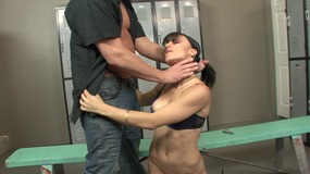 Bouncy bitch gets banged in the locker room