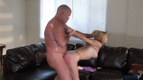 Beautiful blonde is butt smacked, choked, and given a big facial load by older man