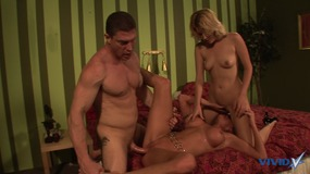Horny babes get their pussies fucked hard by a stud in a steamy threesome