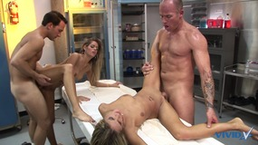 Four gorgeous whores with perfect bodies get filled by two guys' big cocks