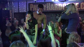 Crazy hunk guys at a party caressing sexy babes