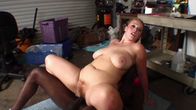 Big butt brunette slut sucks and fucks juicy ebony cock hard in garage