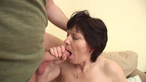 Older brunette in slutty lingerie fucks and sucks then gets her pussy cummed