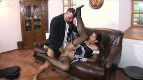 Massive dick dude fucks the mouth, asshole and cunt on this sexy spanish maid