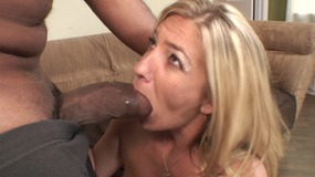 On Your Heels Sexy Blonde Whore Rubs Her Pussy While Taking Hard Black Cock Up