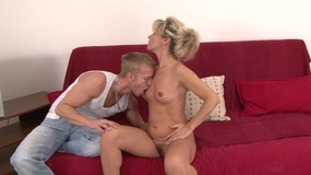 Slutty blonde MILF lays back to get her muff slammed