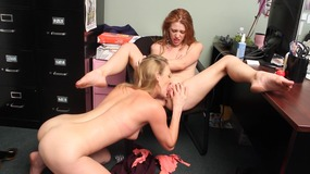 Horny lesbian blondes have hardcore fuck session on their desk at work