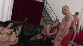 Blonde and brunette babes get really horny ate a sex gathering