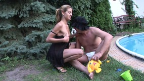 Man with diaper fetish gets fucked and sucked by a sexy blonde