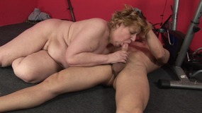 Fatty mature blonde bends over to get pounded from behind in the gym