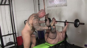 Brunette BBW in fishnets bends over for stud's big dick in the gym room