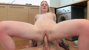Innocent face slut taking up her ass this warm and hard cock in her