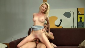 Blonde Chick With Pale Body Fucks Hardly On The Sofa