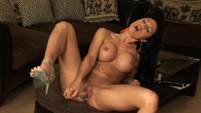 Big boobed chick solo play
