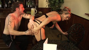 Fit stud nails a sexy blonde on the floor