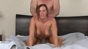 Slut locks husband's dick in chastity while fucking his best friend