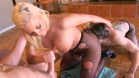 Strong lover pokes meaty blonde wife in fishnet stockings while husband was watching