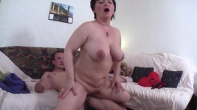 Busty milf gets cum on her big tits after being fucked till orgasm