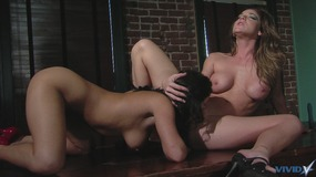 Hot lesbians play with toys