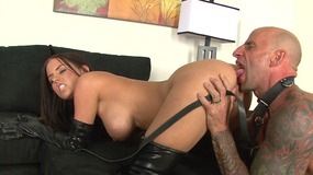 Hot well shaped dark haired lady is riding face of her slave and shows perfect body