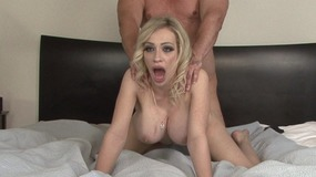 Superb blonde slut with huge tits shows her treasures and gets cock inside