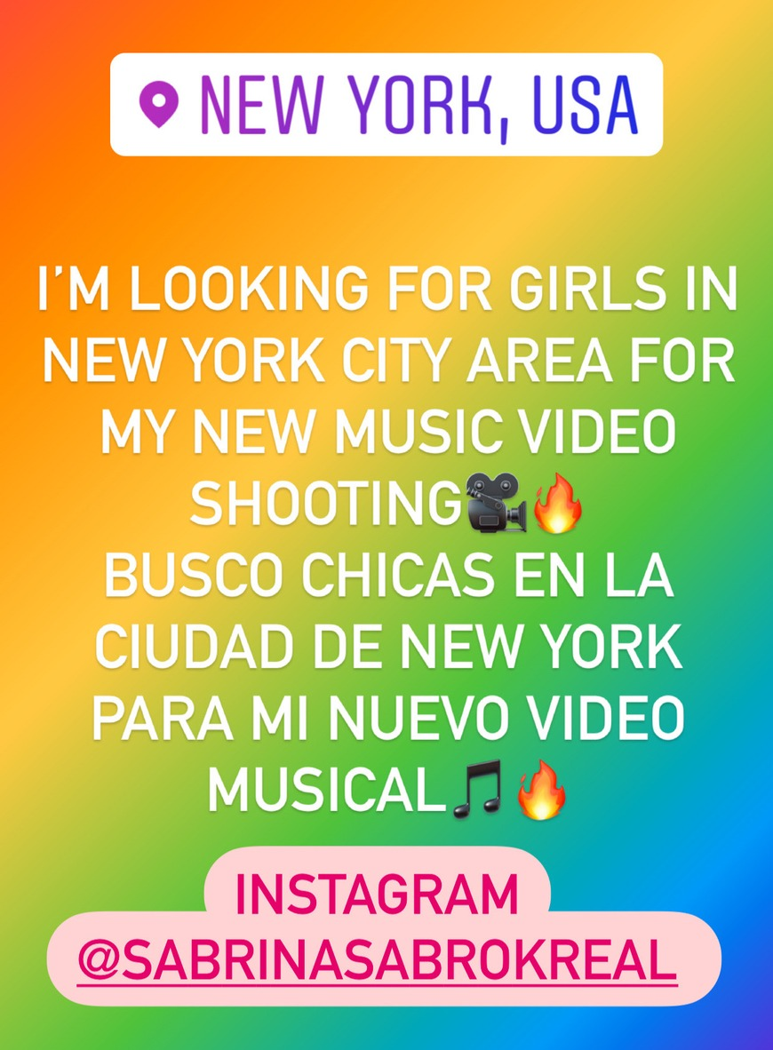 I'm looking for girls in New York City area for my new music video shooting🎥🔥 Busco chicas en la ciudad de New York para mi nuevo Video  Musical🔥🎸 - post image